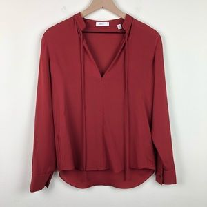 A.L.C. 100% Silk V Neck Long Sleeve Red Blouse